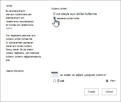 Kurumsal wiki benzersiz izinler seçeneği ekranıyla ekleme
