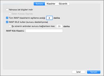 Outlook Mac 2016 IMAP Hesabı Sunucu Ayarları