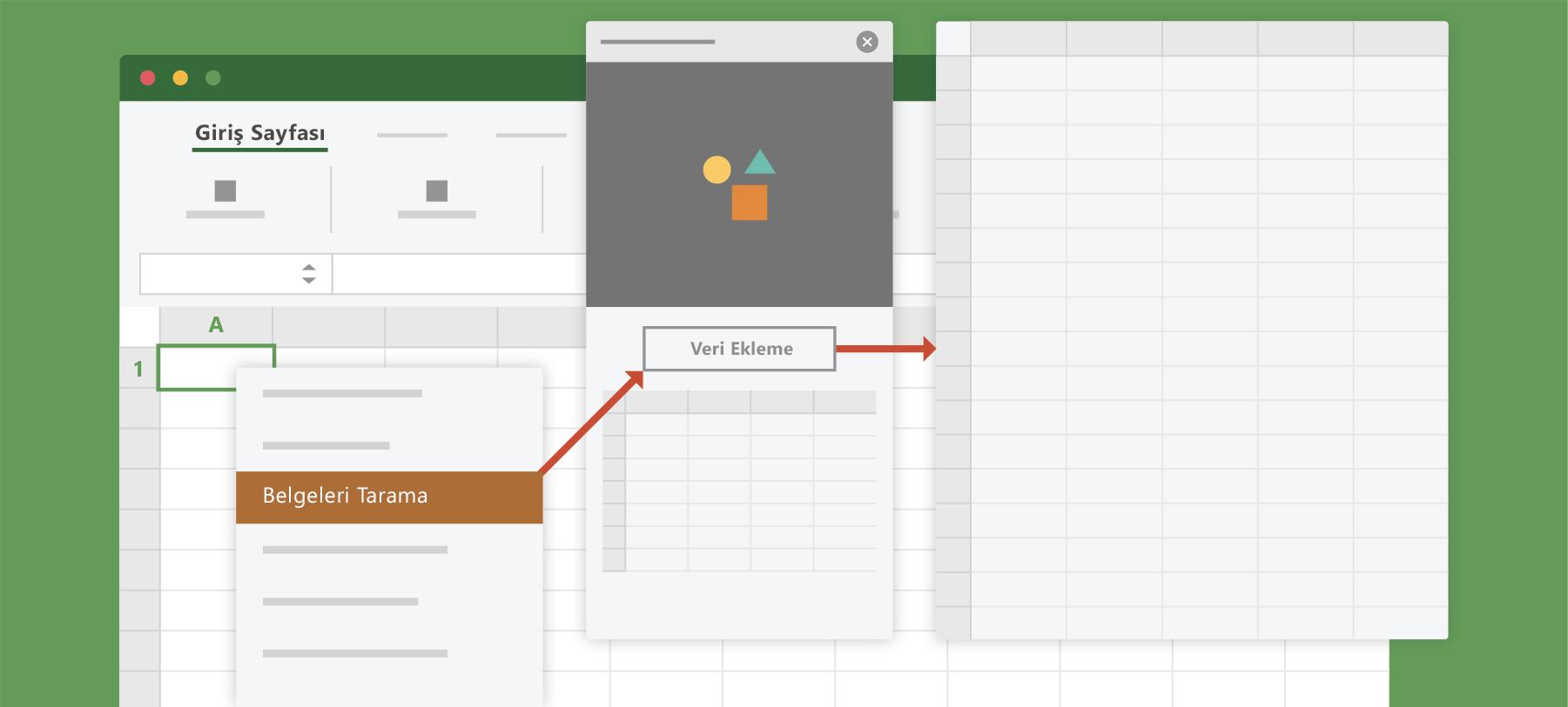 Excel'de Belgeyi tara seçeneğini gösterir