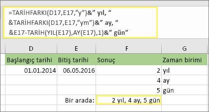 """=TARİHFARKI(D17,E17,""""y"""")&"""" yıl, """"&TARİHFARKI(D17,E17,""""ya"""")&"""" ay, """"&TARİHFARKI(D17,E17,""""ag"""")&"""" gün"""" şu sonucu döndürür: 2 yıl, 4 ay, 5 gün"""