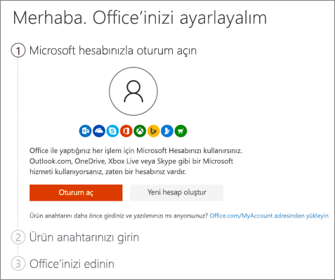 setup.office.com adresinin giriş sayfasını gösterir