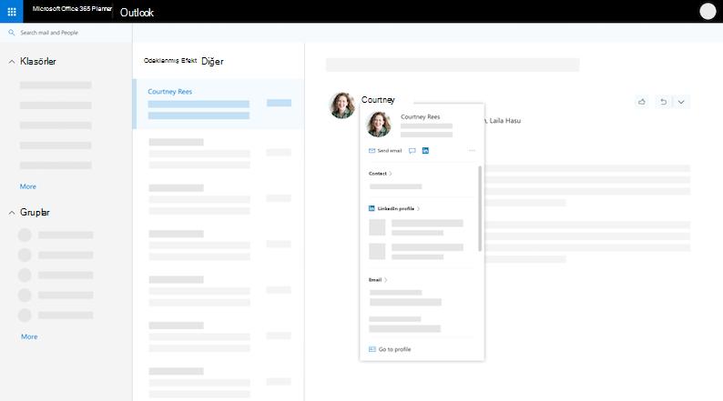 Profil Kartı - genişletilmiş görünümü web üzerinde Outlook'ta