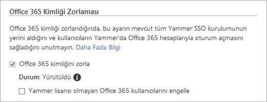 Yammer Güvenlik Ayarları'nda Yammer lisansı olmayan Office 365 kullanıcılarını engelleme onay kutusunun ekran görüntüsü