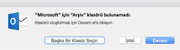 Bu ileti, Mac için Outlook 2016'da arşivle düğmesini ilk kez kullandığınızda görüntülenir