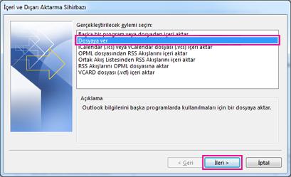 Outlook Dışarı Aktarma Sihirbazı - Dosyaya aktar