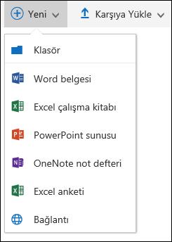 Office 365 yeni bir klasör veya belge oluşturma