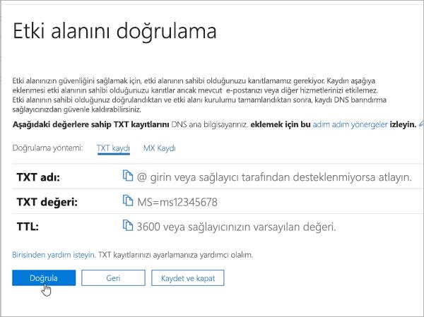 Office 365_C3_201769202357'te etki alanınızı OVH doğrulama