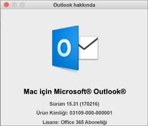 Outlook'u Office 365 aracılığıyla aldıysanız, Outlook Hakkında kutusunda Office 365 aboneliği gösterilir.