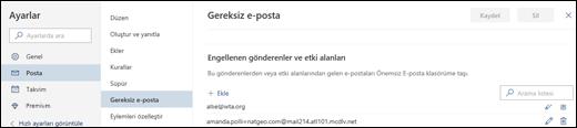 Ekran görüntüsü Outlook.com'daki Ayarlar altında bulunan Posta bölümündeki Gereksiz E-posta ayarlarının Güvenilir gönderenler bölümünü gösteriyor.