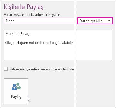 OneNote 2016'da UI paylaşımı ekran görüntüsü.