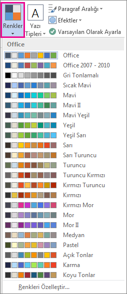 Tema Renkleri galerisi