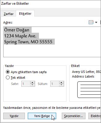 Zarflar ve Etiketler iletişim kutusunda Adres kutusunun içeriğini güncelleştirin ve sonra Yeni Belge'yi seçin.