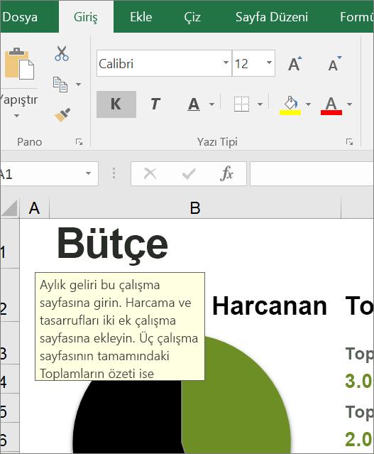 Yerleşik yönergeleri gösteren Excel kullanıcı arabiriminin ekran kırpması