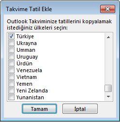Ülke/bölge tatilleri seçimi iletişim kutusu