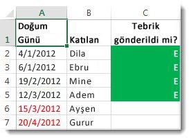 Excel'de örnek koşullu biçimlendirme