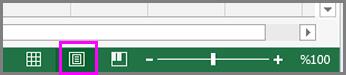 Durum çubuğunda Sayfa Düzeni düğmesi