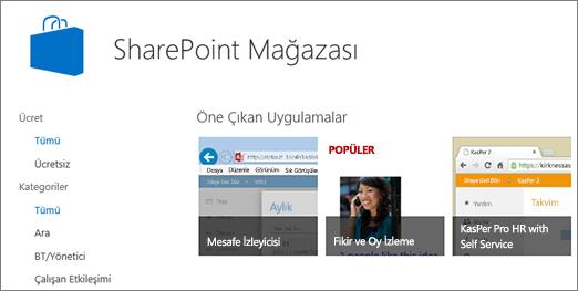 SharePoint mağazası uygulaması seçimi görünümü