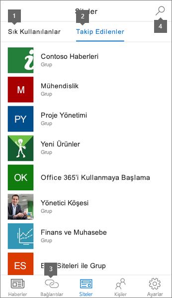 İOS için SharePoint mobil uygulamasının siteler sekmesi