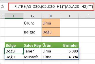 Dizi aralığımızda (A5:D20) elma içeren VE doğu bölgesinde yer alan tüm değerleri döndürmek için FİLTRE işlevini çarpma işleci ile (*) kullanma.