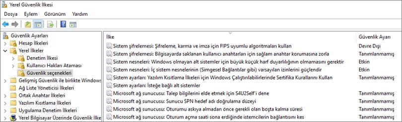 Düzeltilmiş OneDrive ayarlarının gösterildiği güvenlik seçenekleriyle Yerel Güvenlik Ilkesi penceresi