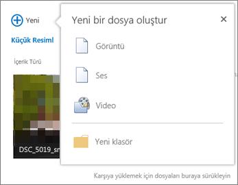 +Yeni düğmesinden belge iletişim kutusu oluşturma