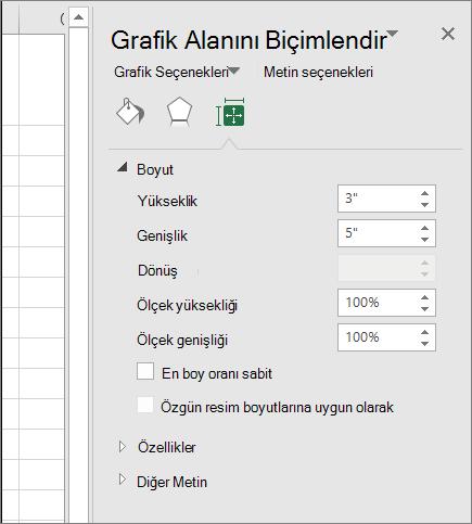 Grafik alanını Biçimlendir iletişim kutusunda grafik boyutu ayarlayabilirsiniz.