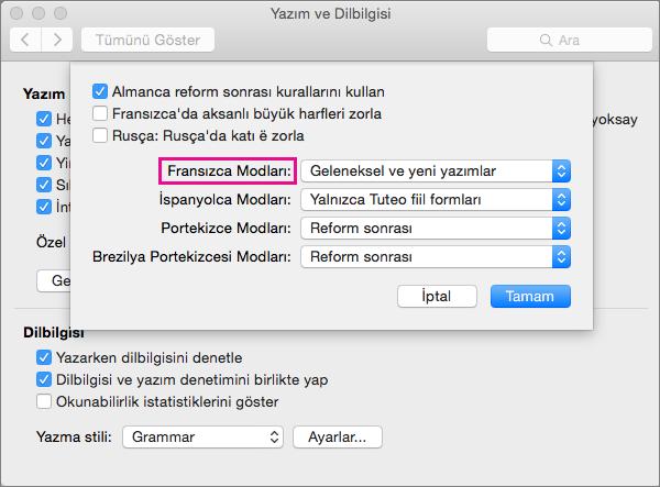 Fransızca Modları listesinden Fransızca yazım denetimi kurallarını seçin.