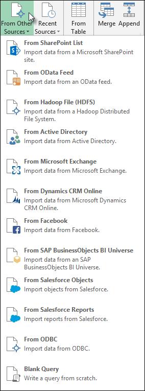 Power Query iletişim kutusundan diğer kaynaklardan veri alma