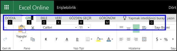 Giriş sekmesinin ve tüm sekmelerde Tuş İpuçlarının gösterildiği Excel Online şeridi