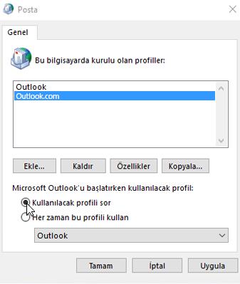 Outlook'taki Profiller kutusunun ekran görüntüsü