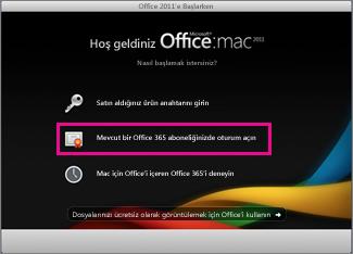 Var olan bir Office 365 aboneliğinde oturum açtığınız Mac için Office ana yükleme sayfası.