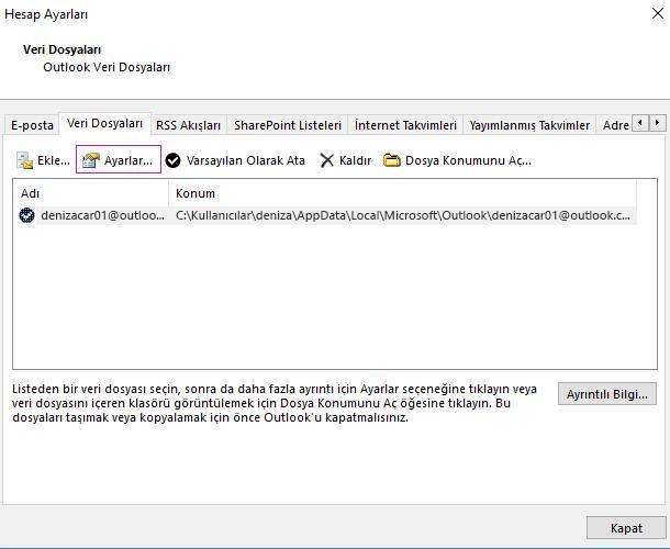 Hesap Ayarları'nda, bir Exchange Hesabının dosya ayarlarını değiştirme