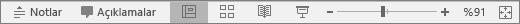PowerPoint'te ekranın altındaki Görünüm düğmelerini gösterir