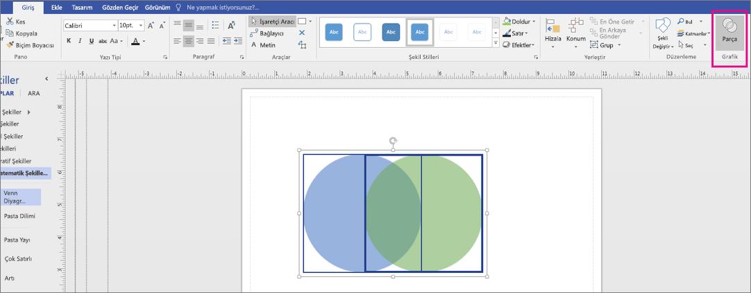 Grafik alanında parçası'nı tıklatın.