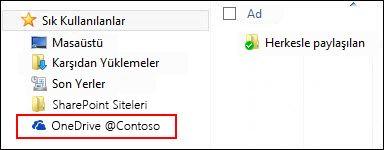 Windows Sık Kullanılanlar'ı altındaki eşitlenen OneDrive İş kitaplığı