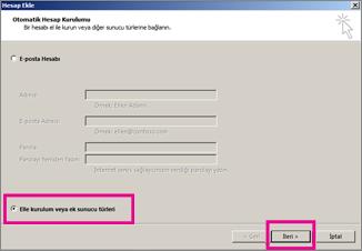Outlook 2013'te elle kurulumu kullanma