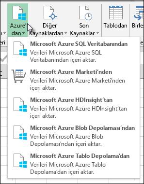 Azure iletişim kutusunda Power Query içeri aktarma