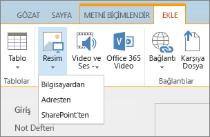 SharePoint Online şeridinin ekran görüntüsü. Ekle sekmesini seçin ve ardından Resim'i seçerek dosyanın bilgisayarınızdan mı, web adresinden mi, yoksa SharePoint konumundan mı karşıya yükleneceğini belirtin.