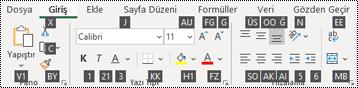 Excel tuşu ipuçlarını açma
