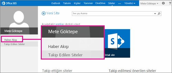 Haber Akışı bağlantısı vurgulanmış olarak Siteler sayfasının ekran görüntüsü