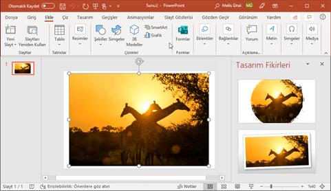 Tasarımcı, tek tıklamayla slaytlardaki fotoğrafları geliştirir.