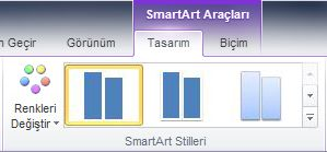 SmartArt Araçları'nın altında Tasarım sekmesinin SmartArt Stilleri grubu