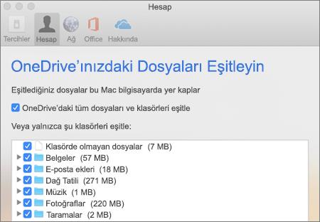 Mac için OneDrive'da Klasörleri Eşitle iletişim kutusu