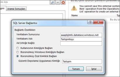 SQL Azure veritabanı sunucunuzun adını doldurabildiğiniz ve Güvenli Depolama Uygulaması Kimliği'nizi girmek için Bürünülen Özel Kimlik ile bağlan seçeneğini kullanabileceğiniz SQL Server Bağlantısı iletişim kutusunun ekran görüntüsü.