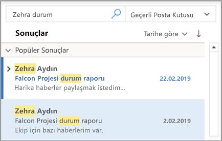 Outlook arama sonuçlarını gösterir
