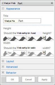 Medya Web Bölümü düzenleme panelinin, yapılandırabileceğiniz bazı özellikleri gösteren ekran görüntüsü