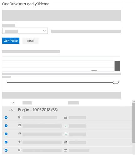 OneDrive'ınızı Geri Yükleyin'deki etkinlikleri seçmek için etkinlik grafiğinin ve etkinlik akışının kullanımını gösteren ekran görüntüsü