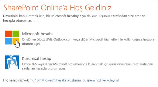 SharePoint Online oturum açma ekranının gösterildiği ekran görüntüsü.