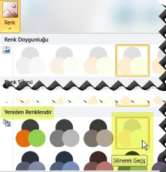 Renk düğmesine tıklayın, ardından Yeniden Renklendir altında Silerek Geç seçeneğini belirleyin