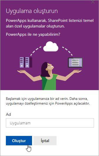 PowerApp için bir ad sağlama ve sonra da Oluştur'nı tıklatın.